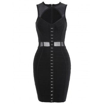 Mesh Insert Cut Out Bandage Dress - BLACK S