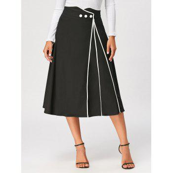 Color Trim Midi A Line Skirt - BLACK 2XL