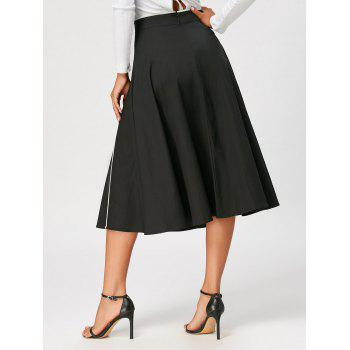Color Trim Midi A Line Skirt - 2XL 2XL