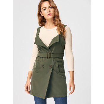 Vertical Pockets Waistcoat with Belt - ARMY GREEN ARMY GREEN