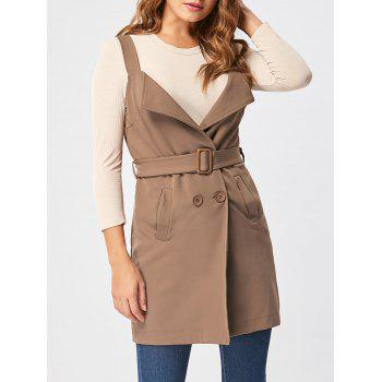 Vertical Pockets Waistcoat with Belt - KHAKI KHAKI