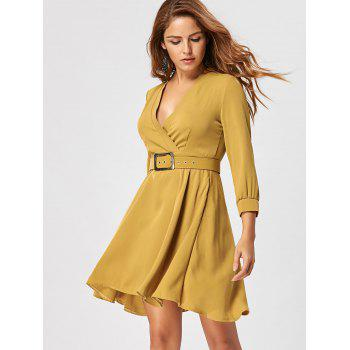 Fit and Flare Dress with Belt - L L