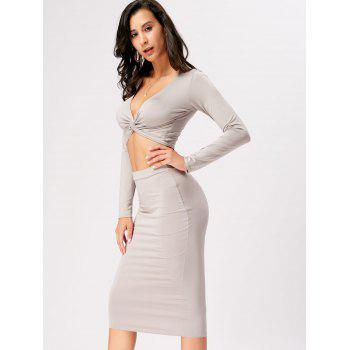 Front Knot Crop Top With Midi Bodycon Skirt - GRAY L