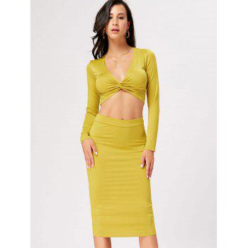 Front Knot Crop Top With Midi Bodycon Skirt - YELLOW L
