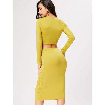 Front Knot Crop Top With Midi Bodycon Skirt - YELLOW YELLOW