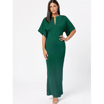 Raglan Sleeve V Neck Bodycon Maxi Dress - Vert Armée XL