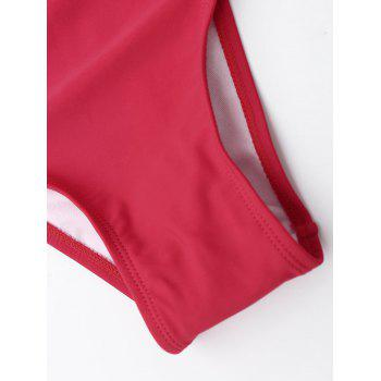 Strappy Bandage One Piece Swimsuit - RED RED