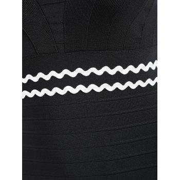 Wavy Stripes Scoop Neck Bandage Dress - BLACK BLACK