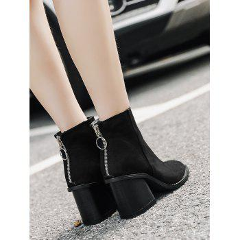 Chunky Heel Zip Ankle Boots - BLACK 37