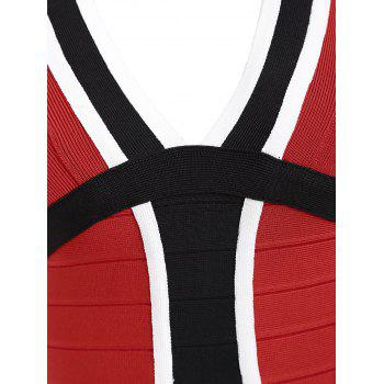 V Neck Color Block Bandage Dress - RED RED