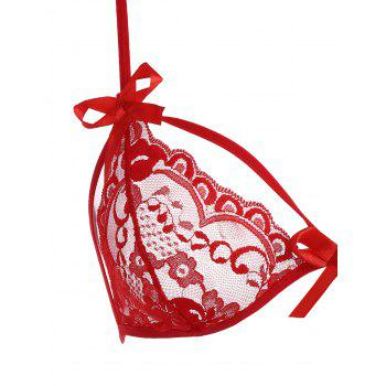 Halter Lace Sheer Bralette Set - RED RED