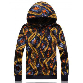 Ethnic Style Print Embossing Hoodie - COLORMIX COLORMIX