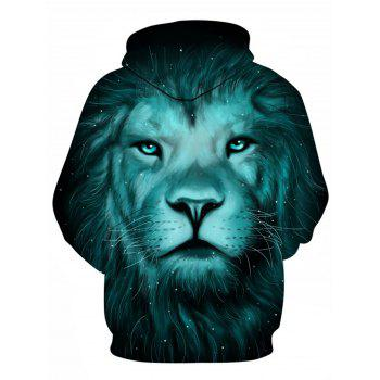 Galaxy 3D Lion Print Pullover Hoodie - COLORMIX XL