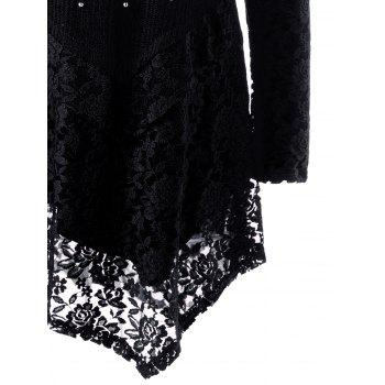 Faux Pearl Plus Size Asymmetric Lace Top - BLACK 5XL