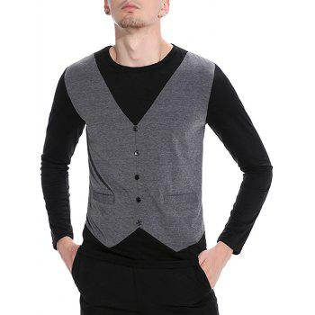 Long Sleeve Faux Twinset Buttons T-shirt - DEEP GRAY M