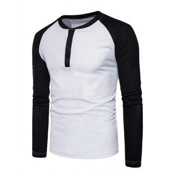 Color Block Raglan Sleeve Henley T-Shirt - WHITE L