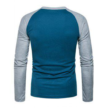 Color Block Raglan Sleeve Henley T-Shirt - BLUE L
