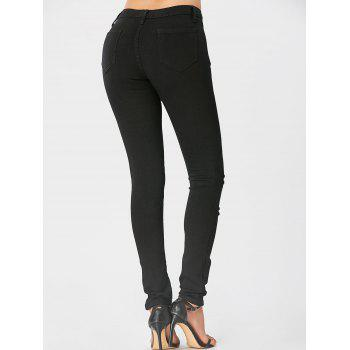 High Waisted Floral Embroidered Ripped Jeans - BLACK BLACK