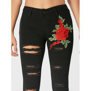 High Waisted Floral Embroidered Ripped Jeans - BLACK XL