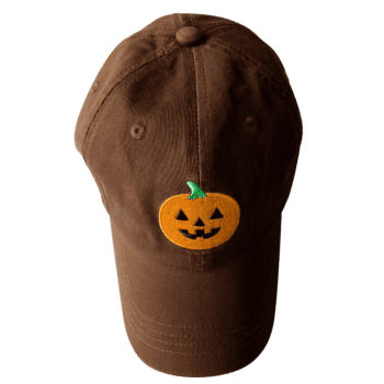 Halloween Pumpkin Embroidered Baseball Hat - CHOCOLATE