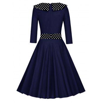 Retro Polka Dot Fit and Flare Dress - BLUE XL