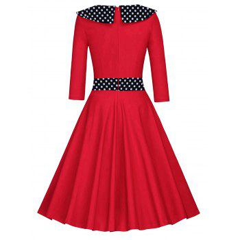 Retro Polka Dot Fit and Flare Dress - RED 2XL