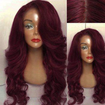 Long Side Part Wavy Human Hair Lace Front Wig - WINE RED WINE RED