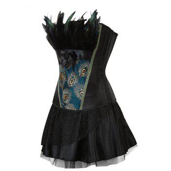 Two Piece Corset Dress with Feather - BLACK XL