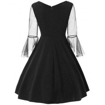 Lace Panel Bell Sleeve Vintage Dress - BLACK S