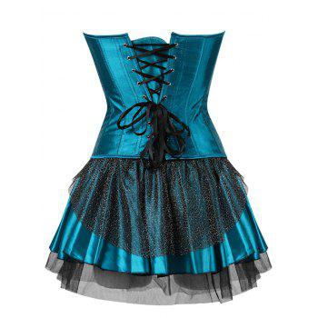 Two Piece Corset Dress with Feather - LAKE BLUE S