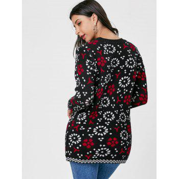 Floral Crew Neck Sweater - BLACK/WHITE/RED 2XL