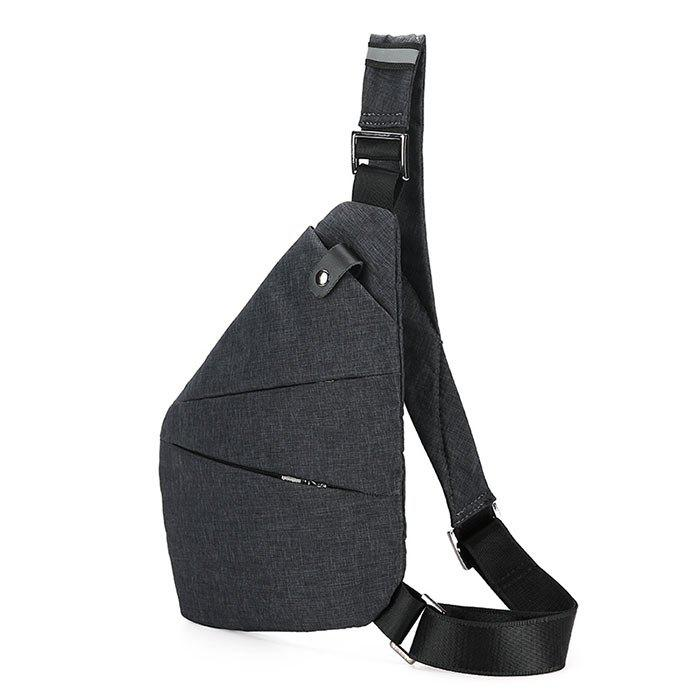 Buckle Strap Multi Zippers Chest Bag - GRAY