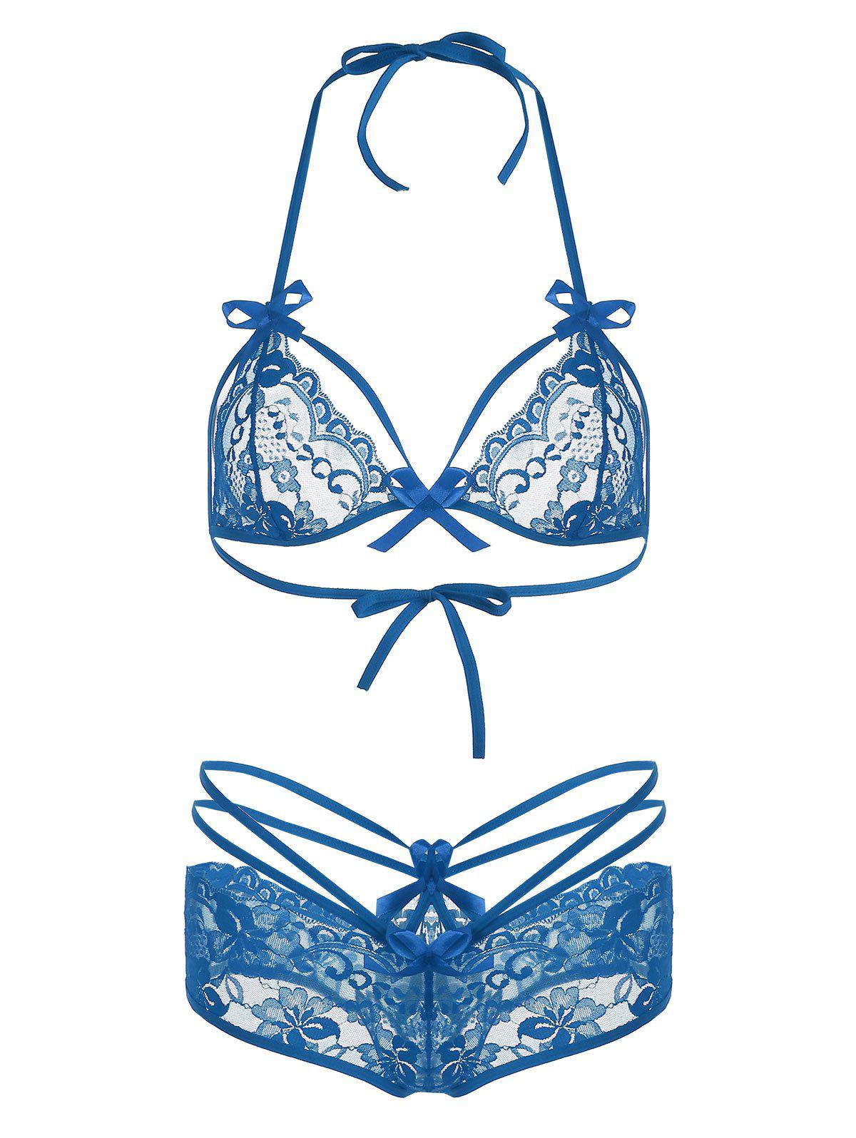 Halter Lace Sheer Bralette Set - BLUE L