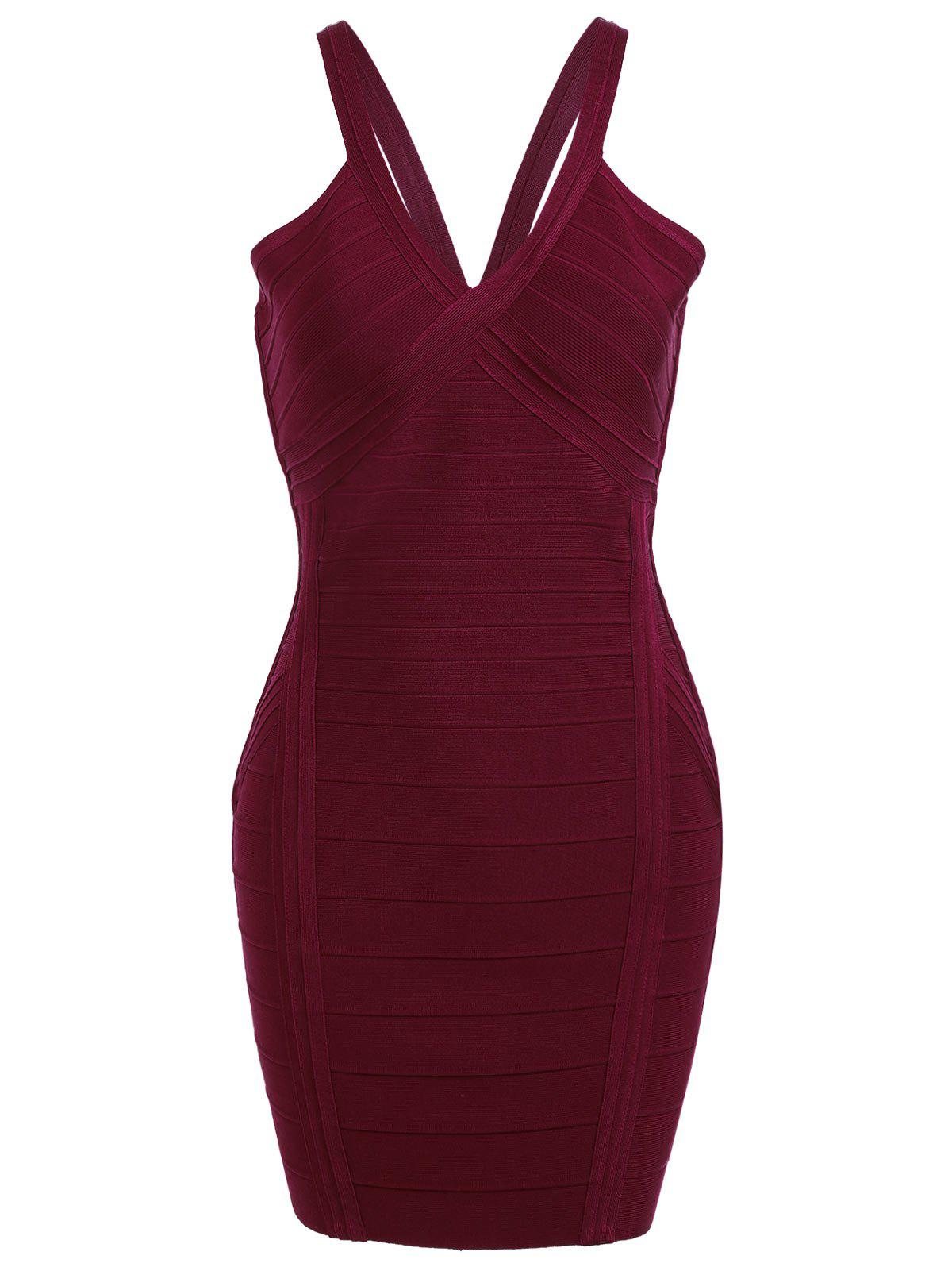 Cami Strap Night Out Bandage Dress - Rouge vineux L
