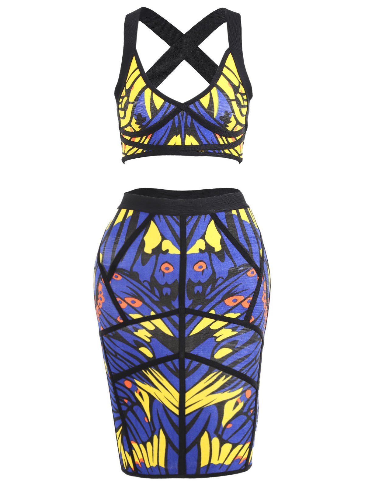 Printed Crop Top and Bandage Skirt Set - BLUE L
