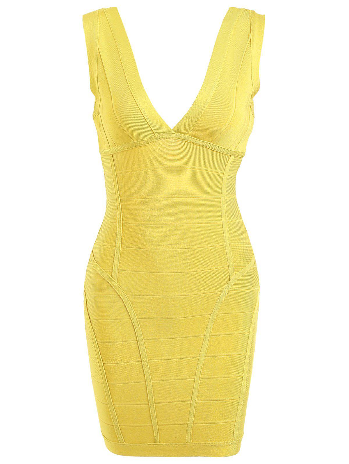 Plunging Neck  Sleeveless Bandage Dress - YELLOW S