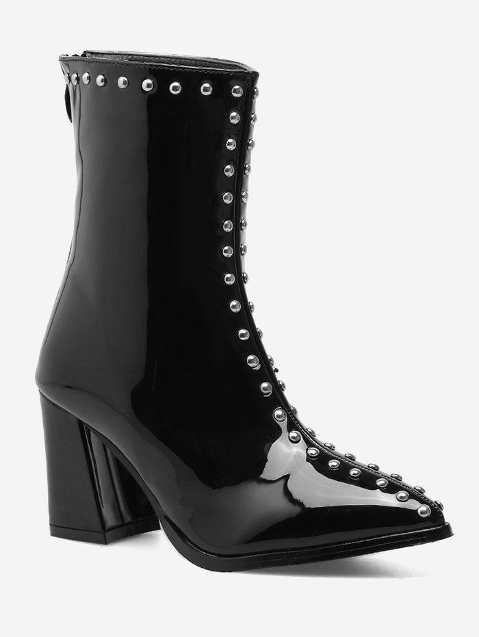 Patent Leather Stud Pointed Toe Ankle Boots - BLACK 38