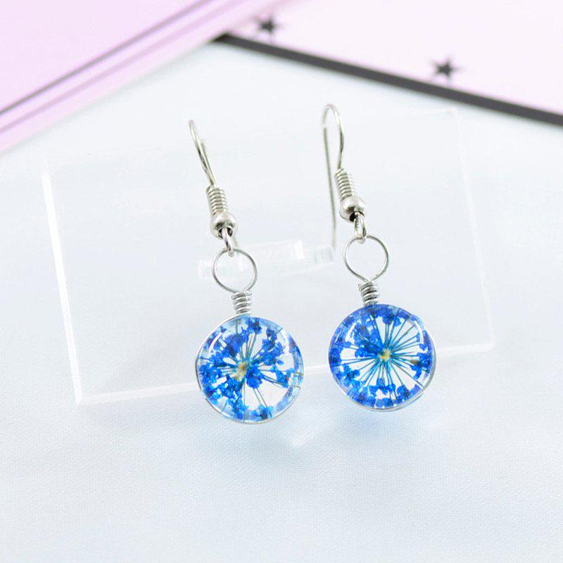 Dry Flower Time Jewel Glass Ball Hook Earrings