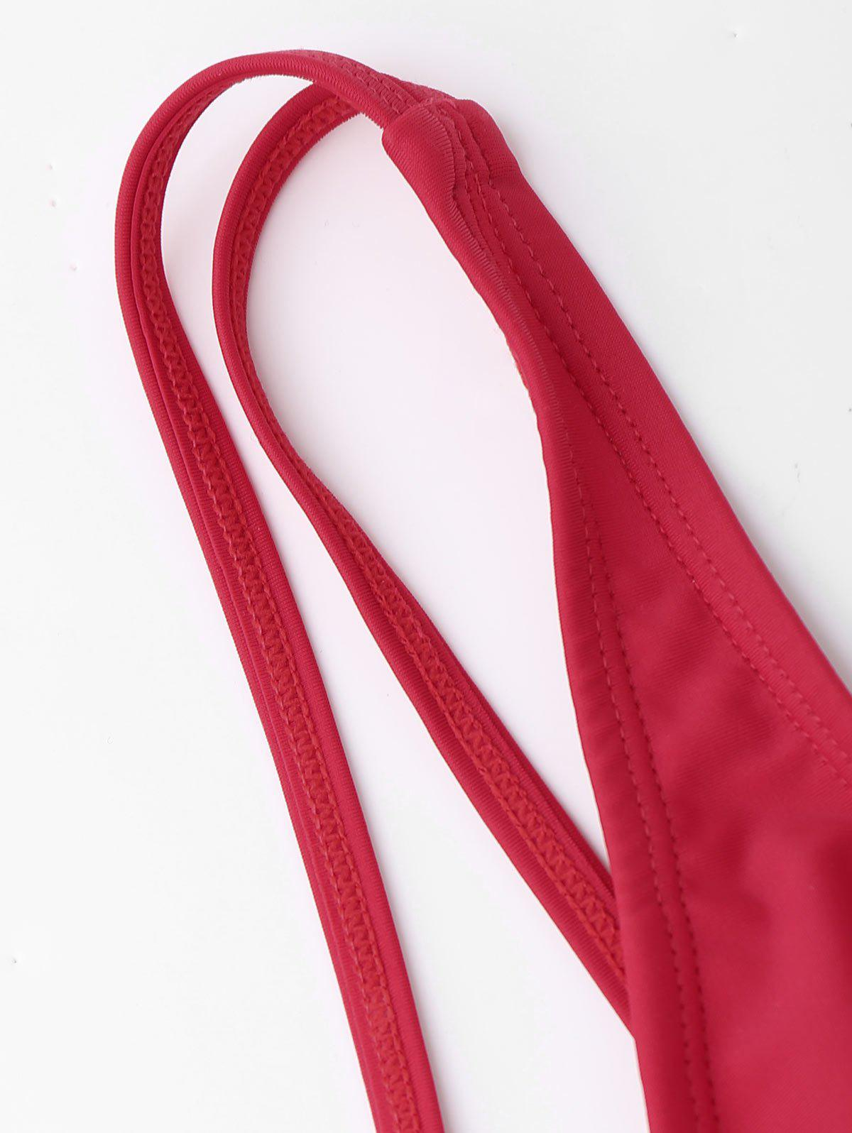 Strappy Bandage One Piece Swimsuit - RED M