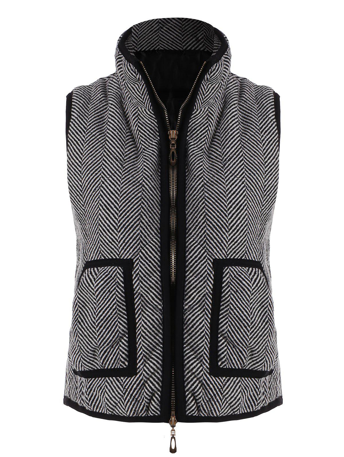 Zip Up Pocket Herringbone Vest - GRAY S