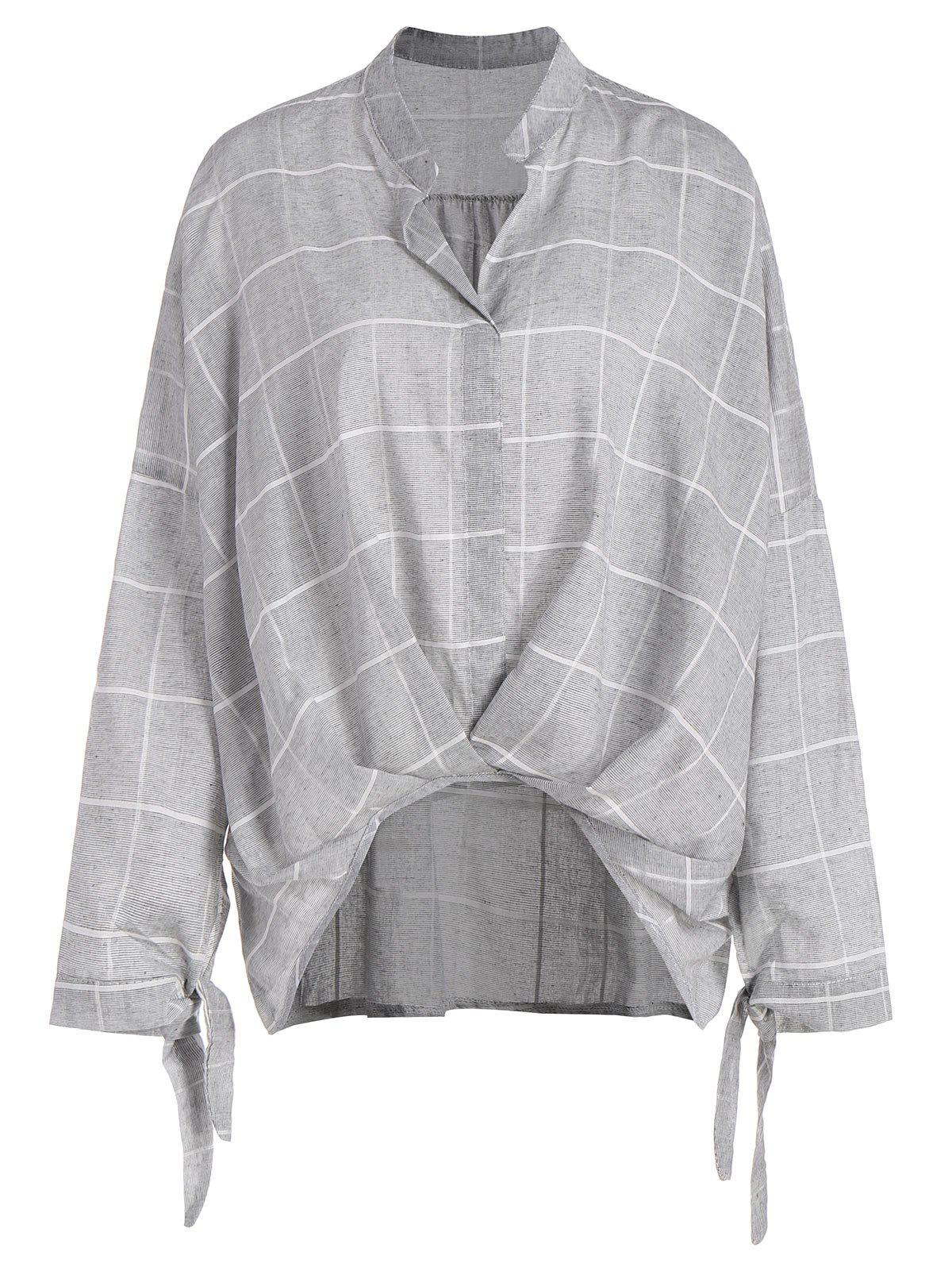 Plus Size Plaid High Low Drop Shoulder Blouse - GRAY 3XL