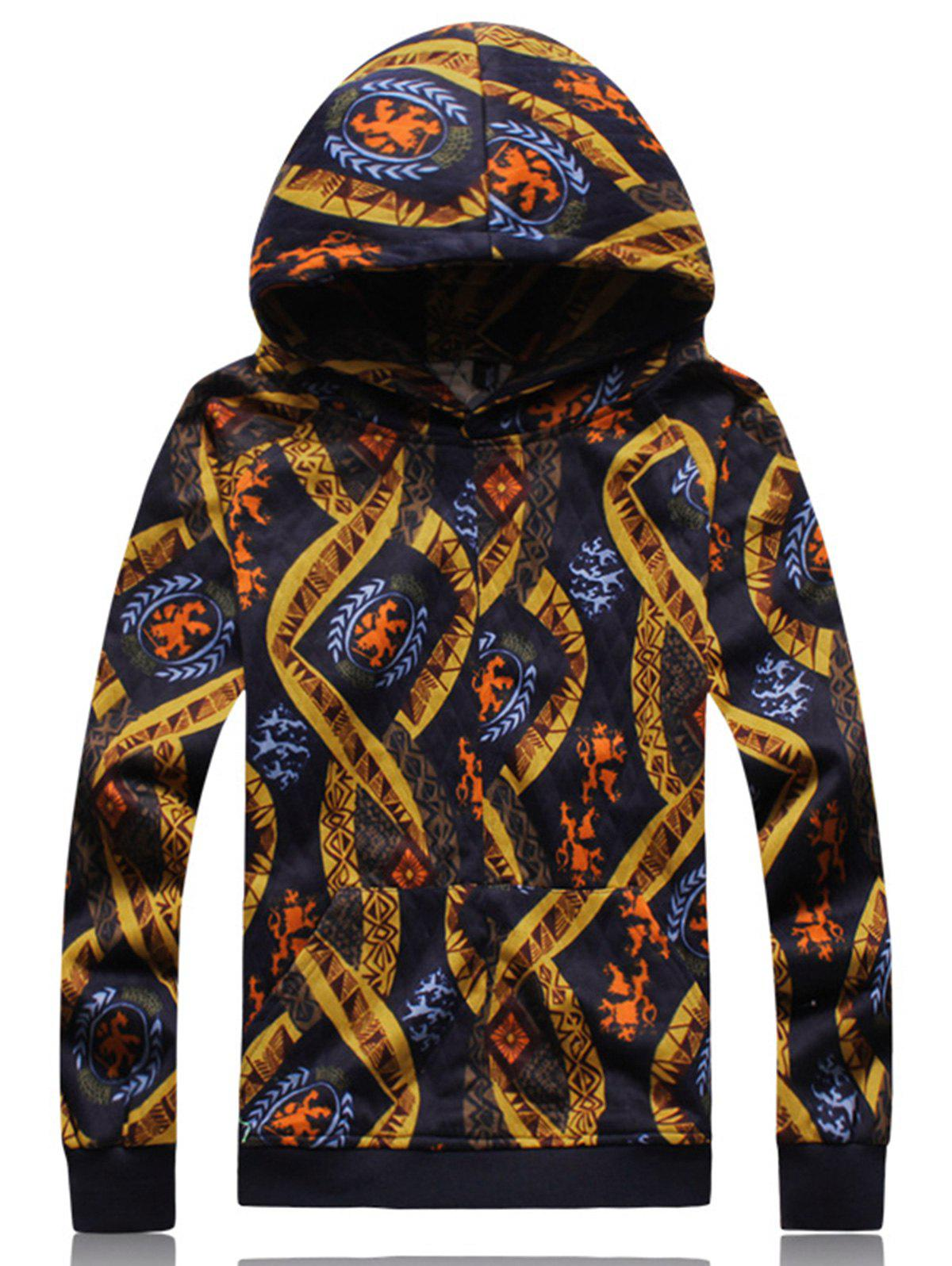 Ethnic Style Print Embossing Hoodie - COLORMIX L
