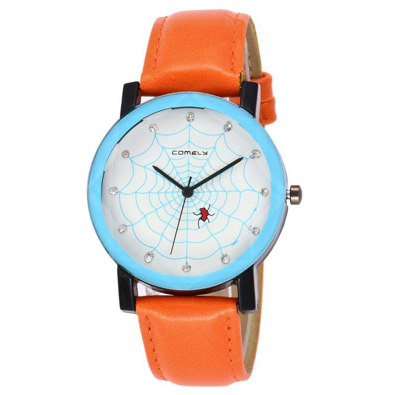 Spider Web Face Analog Watch - Orange