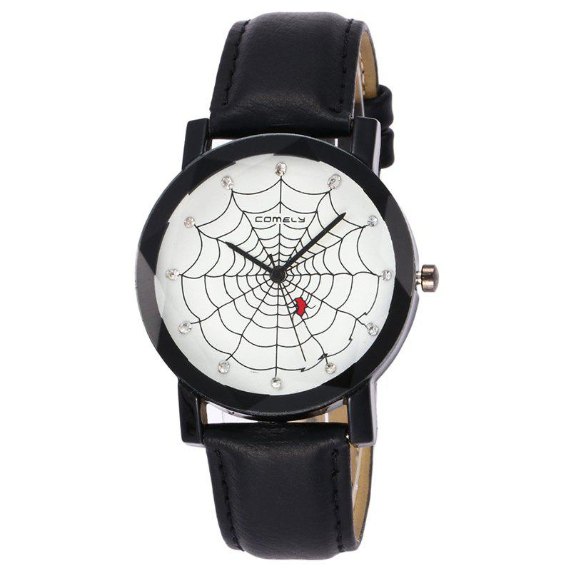 Spider Web Face Analog Watch, Black