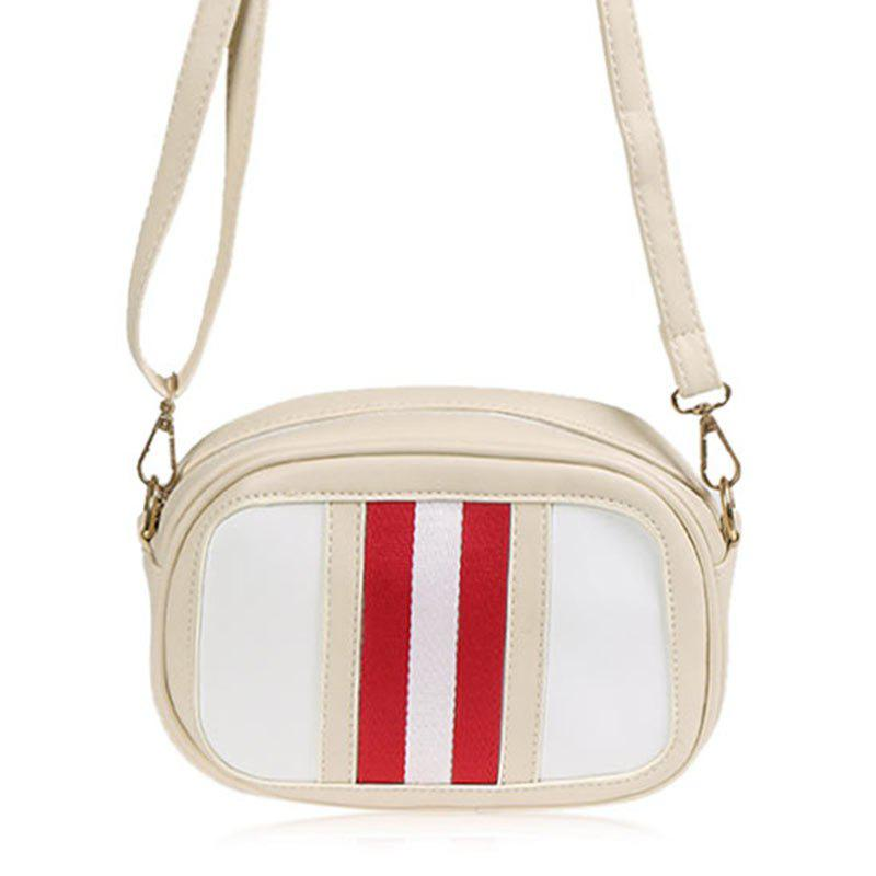 Faux Leather Rayé Crossbody Bag - RAL Beige