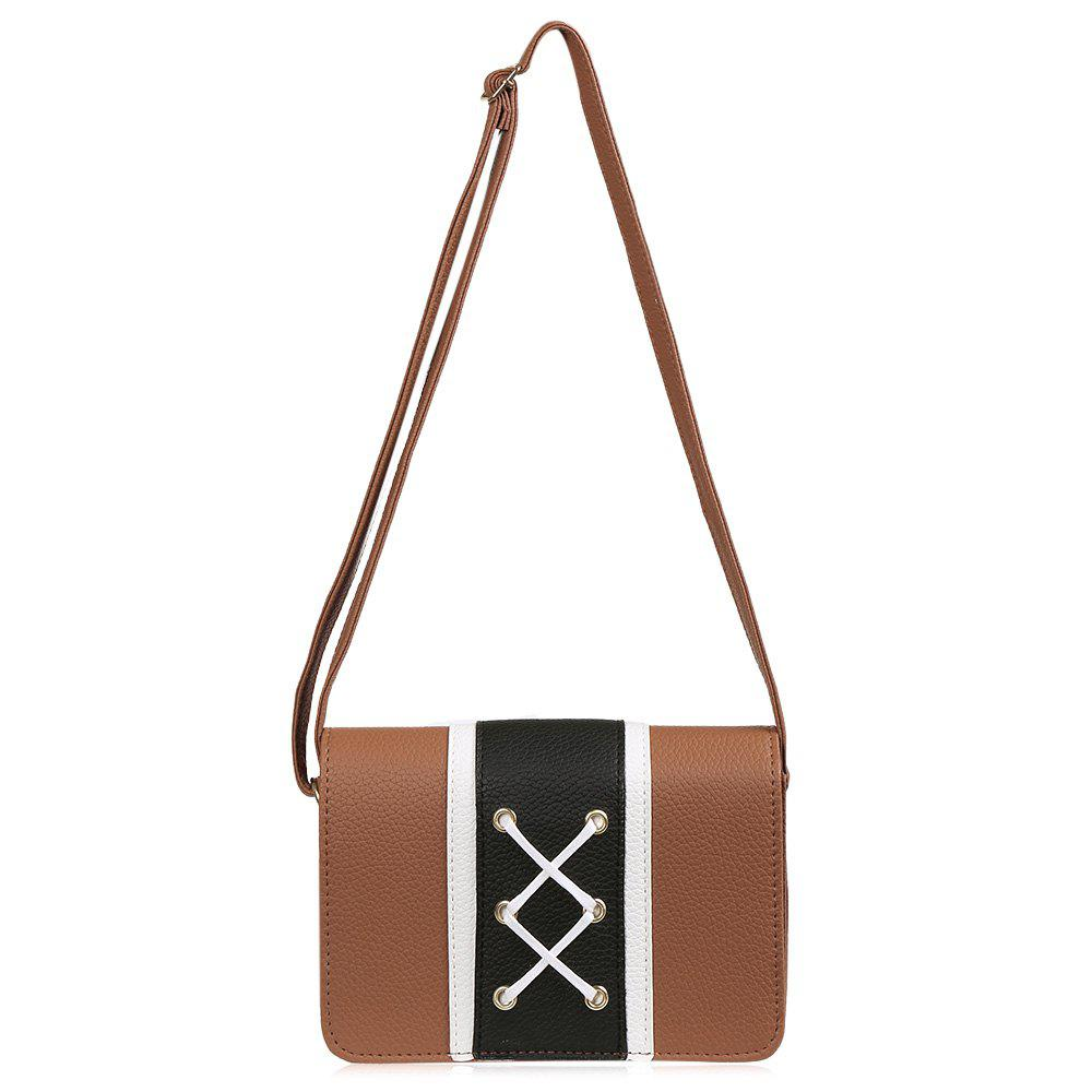 Criss Cross Color Block Sac bandoulière - BRUN