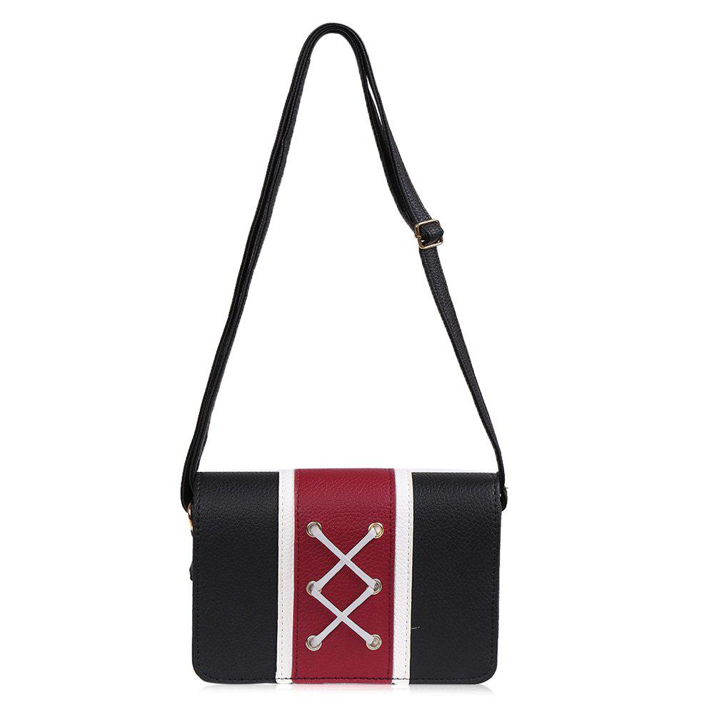 Criss Cross Color Block Crossbody Bag - Noir