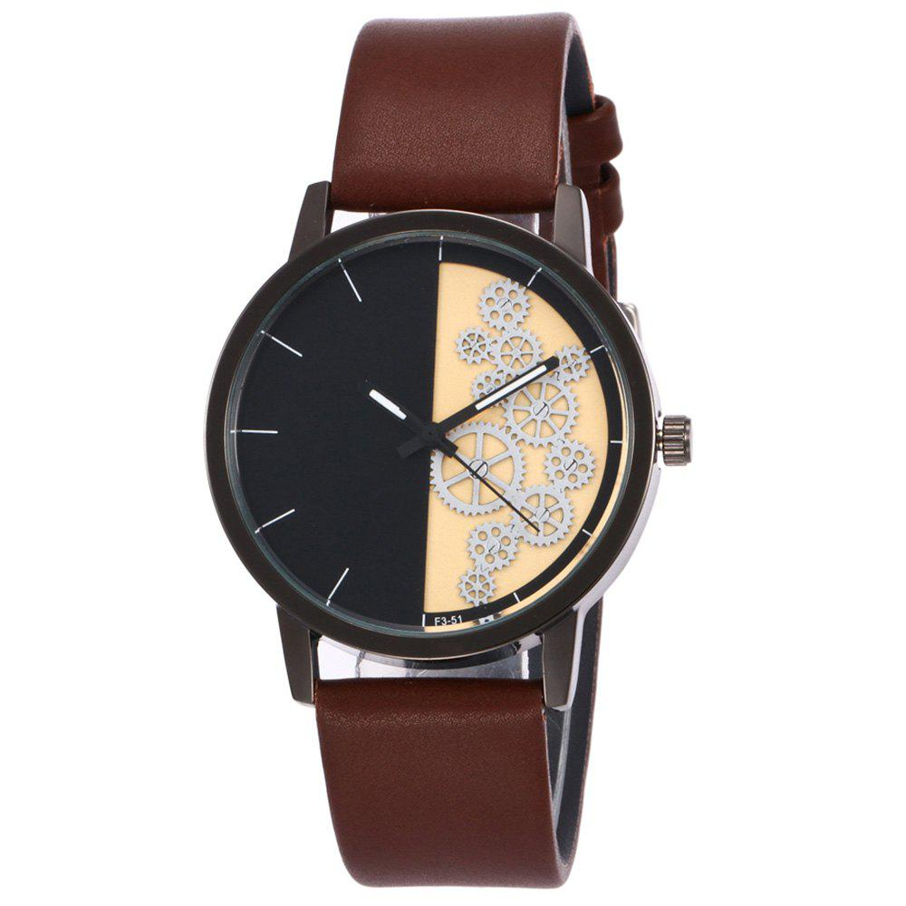 Gear Pattern Faux Leather Watch - BROWN