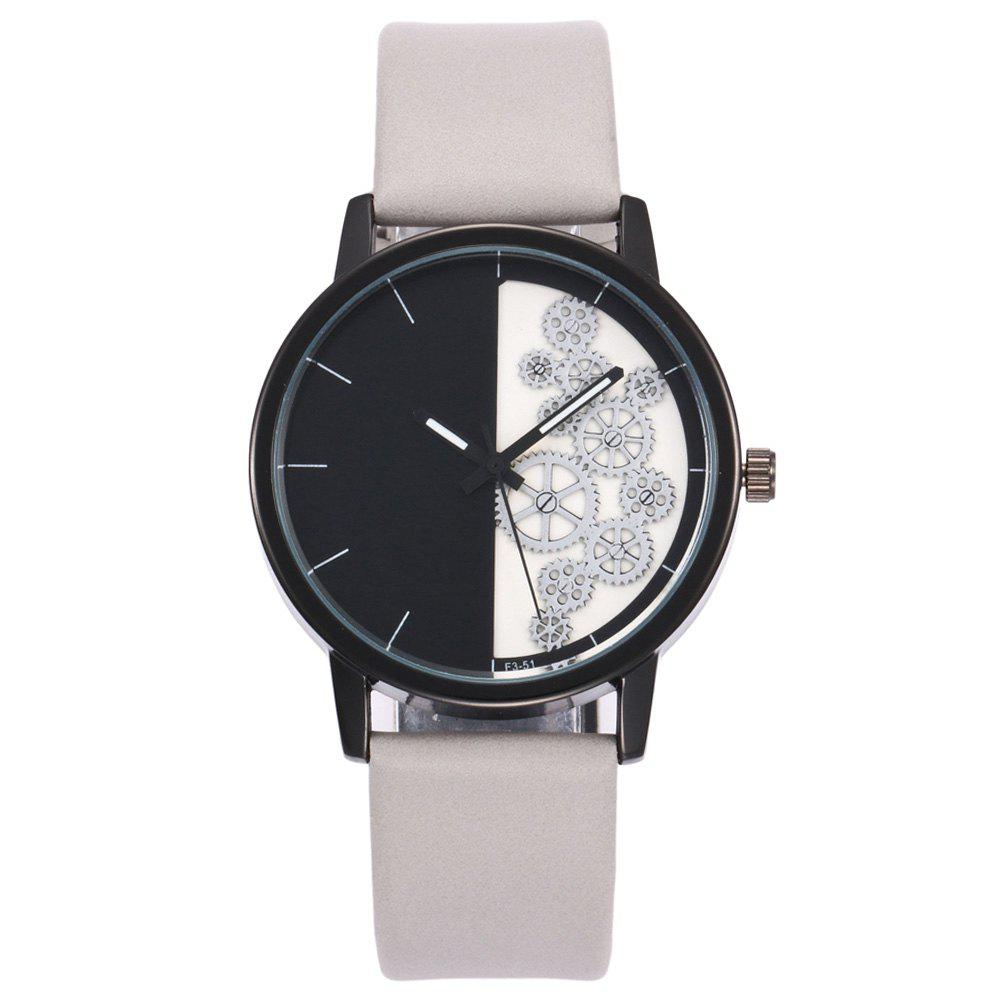 Gear Pattern Faux Leather Watch - WHITE