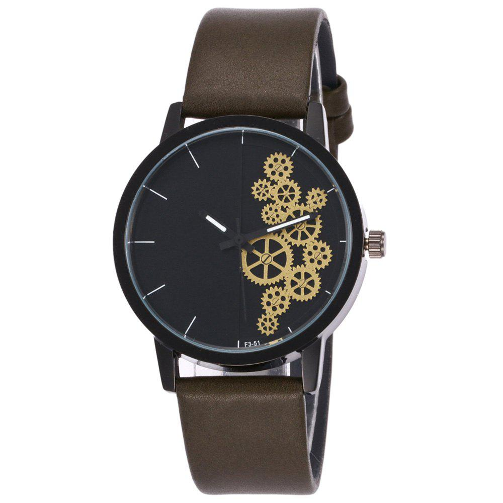 Gear Pattern Faux Leather Watch - ARMY GREEN